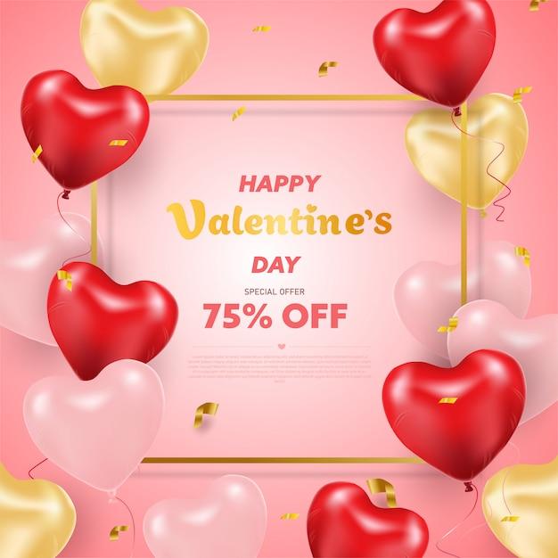Feliz dia dos namorados. balões de coração realista 3d com brilhos. amo temporada banner, saudação e cartão. Vetor Premium