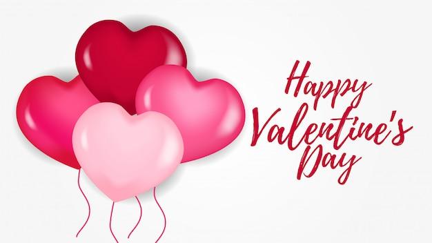 Feliz dia dos namorados banner com balão de coração rosa Vetor Premium