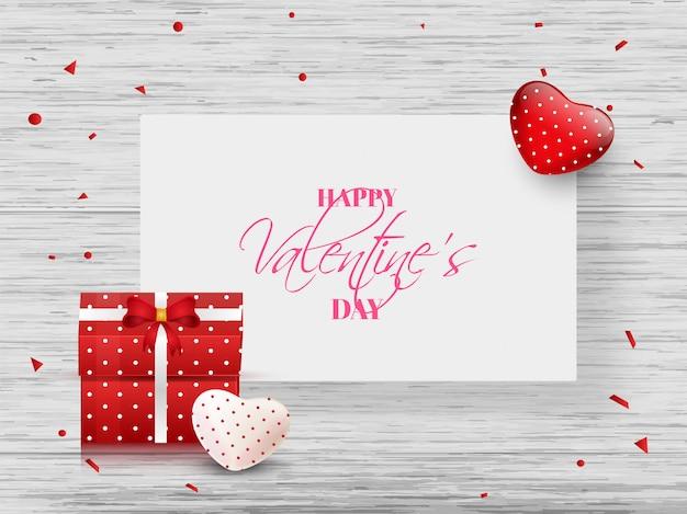 Feliz dia dos namorados banner design com corações e caixas de presente na Vetor Premium