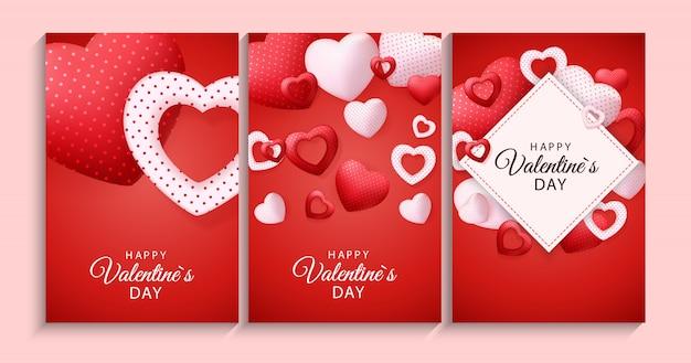 Feliz dia dos namorados cartão com coração Vetor Premium