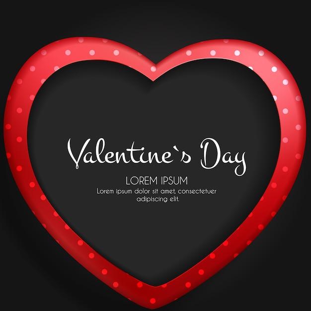 Feliz dia dos namorados cartão com coração. Vetor Premium