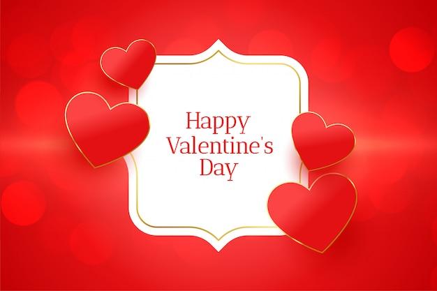 Feliz dia dos namorados cartão de evento com corações vermelhos Vetor grátis