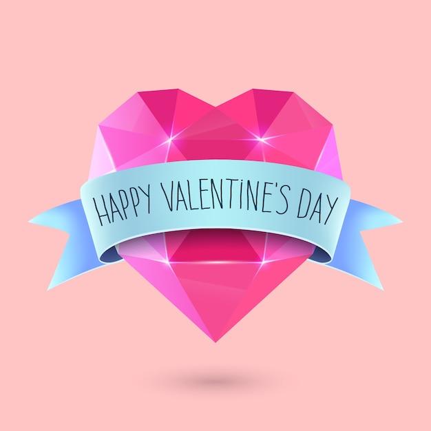 Feliz dia dos namorados cartão de rotulação. formato de coração de diamante Vetor Premium