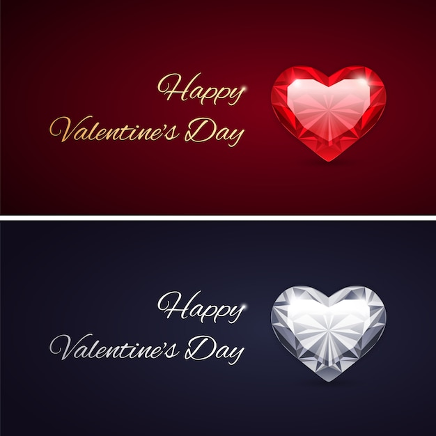 Feliz dia dos namorados cartões com gemas Vetor Premium