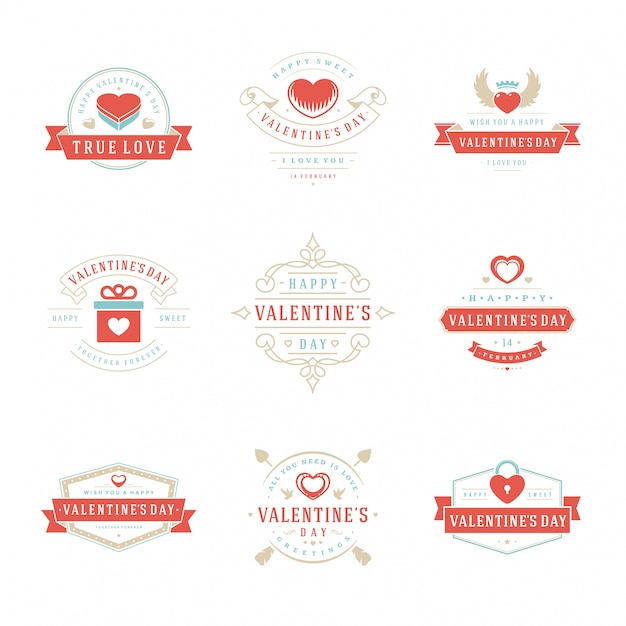 Feliz dia dos namorados cartões de saudações, etiquetas, emblemas Vetor Premium