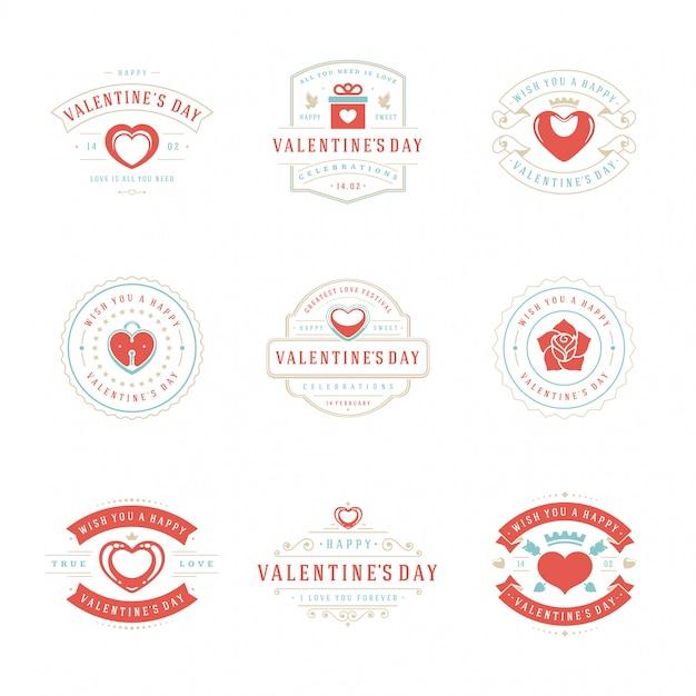 Feliz dia dos namorados cartões e emblemas tipografia vintage design com símbolos de decoração Vetor Premium