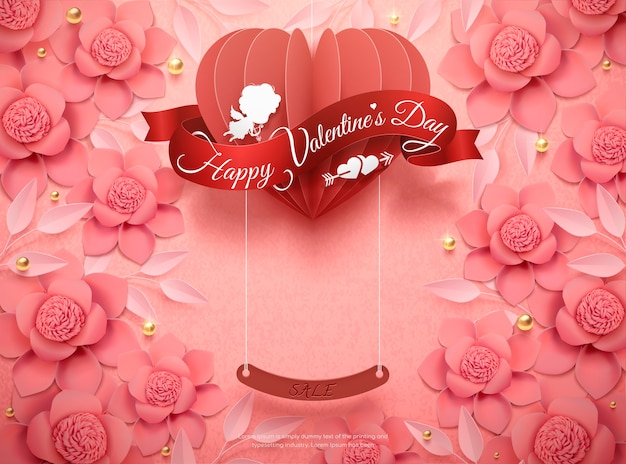 Feliz dia dos namorados com flores de papel rosa e coração pendurado na ilustração 3d Vetor Premium
