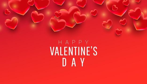 Feliz dia dos namorados com forma de coração em 3d Vetor Premium