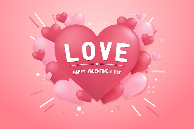 Feliz dia dos namorados com fundo de forma de balão de coração Vetor Premium