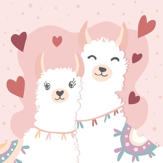 Feliz dia dos namorados com lhama casal apaixonado Vetor Premium