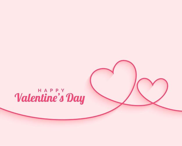 Feliz dia dos namorados com linhas mínimas de corações Vetor grátis