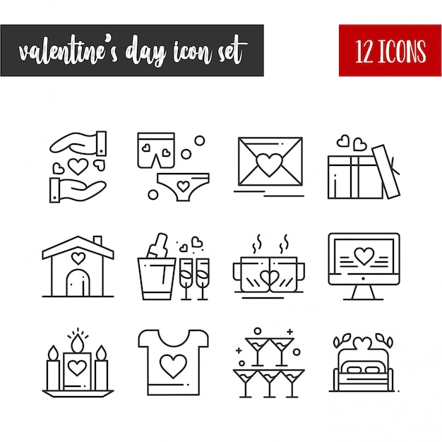 Feliz dia dos namorados contorno 12 conjunto de ícones Vetor Premium