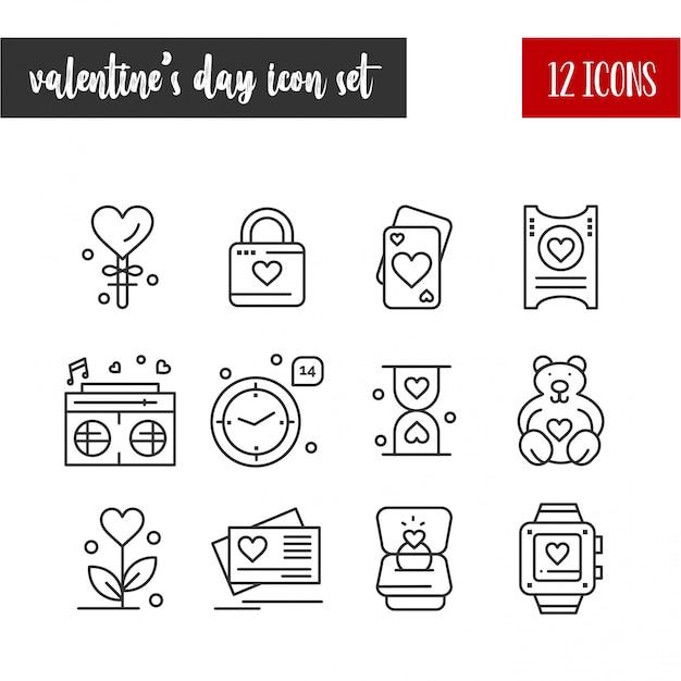 Feliz dia dos namorados contorno 12 conjunto de ícones Vetor grátis