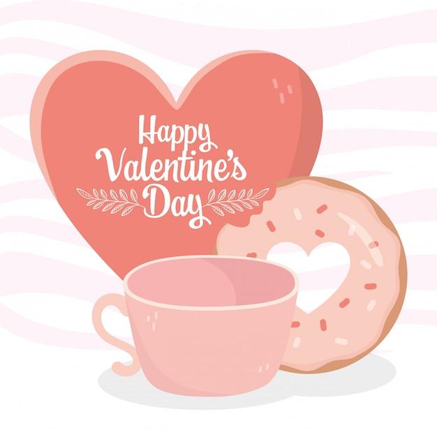 Feliz dia dos namorados coração amor doce donut e xícara de café cartão Vetor Premium