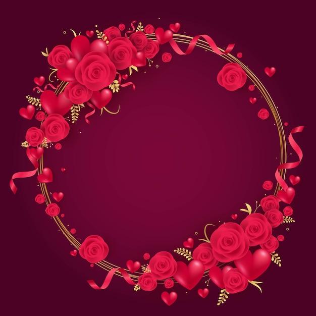Feliz dia dos namorados coração vermelho e moldura de rosas Vetor Premium