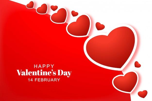 Feliz dia dos namorados corações com cartão de férias Vetor grátis
