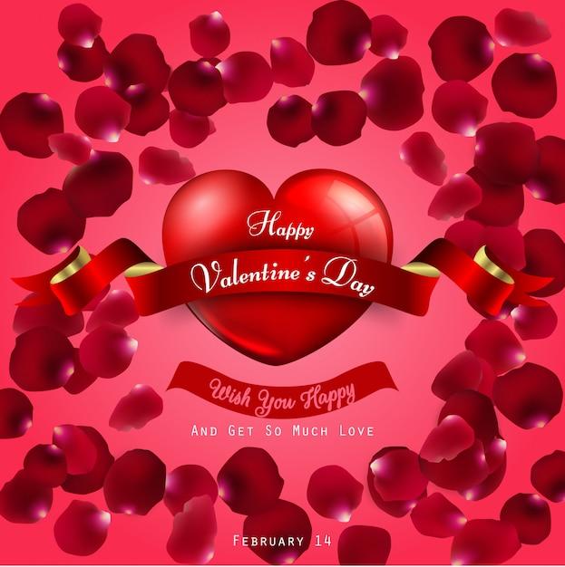 Feliz dia dos namorados em fundo vermelho Vetor Premium