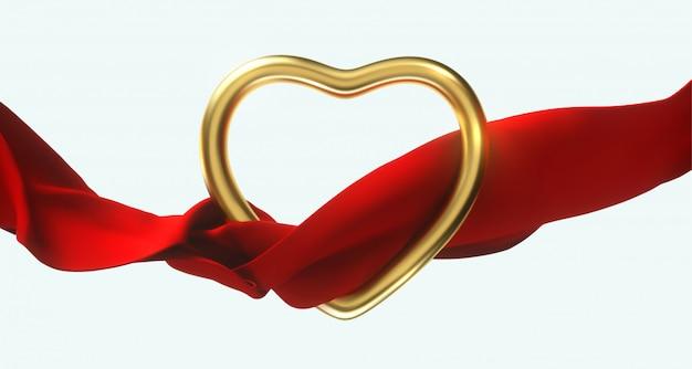 Feliz dia dos namorados. forma de coração de ouro com fluindo pano vermelho isolado. 3d Vetor Premium