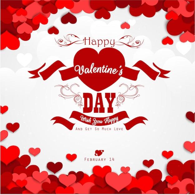 Feliz dia dos namorados fundo com corações vermelhos e fita vermelha Vetor Premium