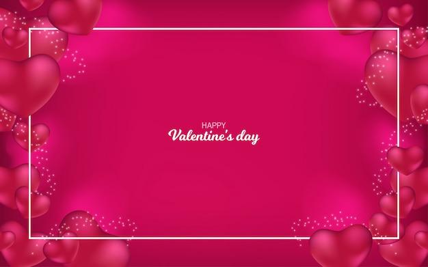 Feliz dia dos namorados fundo com corações Vetor Premium