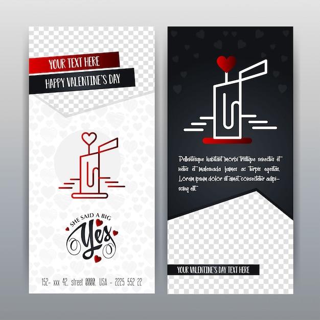 Feliz dia dos namorados ícone vermelho vertical banner. ilustração vetorial Vetor grátis