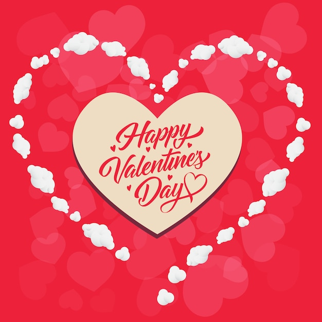 Feliz dia dos namorados letras em moldura em forma de coração Vetor grátis