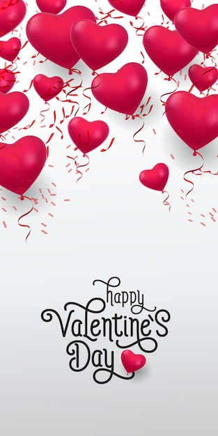 Feliz dia dos namorados letras. inscrição com monte de balões Vetor grátis