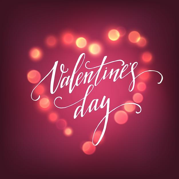Feliz dia dos namorados manuscrita letras para cartão Vetor Premium