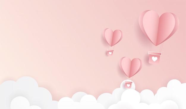 Feliz dia dos namorados. origami fez voar de balão de ar quente Vetor Premium