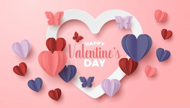 Feliz dia dos namorados papel cortado estilo com forma de coração colorido em fundo rosa Vetor Premium