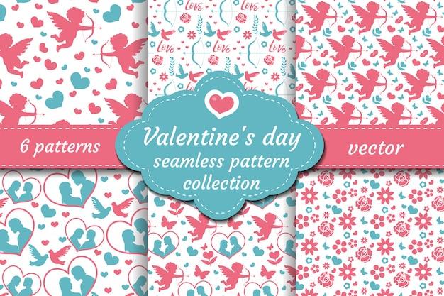 Feliz dia dos namorados s conjunto padrão sem emenda. coleção amor romântico fundo infinito. cupido, coração, flores, casal repetindo textura. ilustração. Vetor Premium