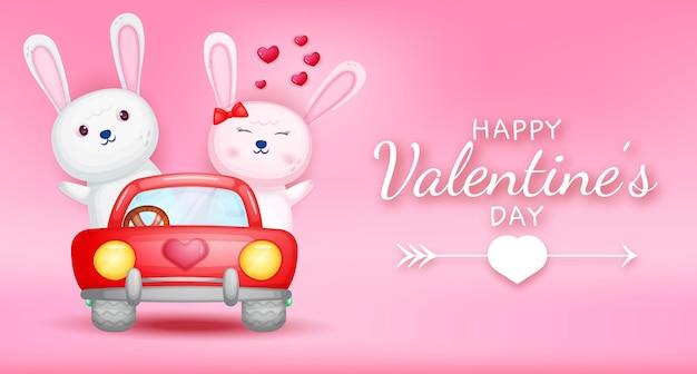 Feliz dia dos namorados saudação texto com casal de coelhos dirigindo carro Vetor Premium