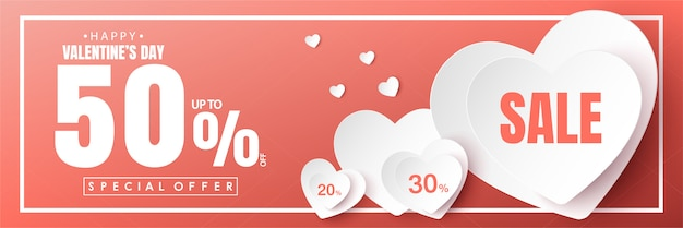 Feliz dia dos namorados venda banner vector design Vetor Premium