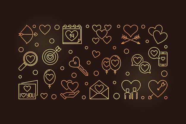 Feliz dia dos namorados vetor banner dourado Vetor Premium