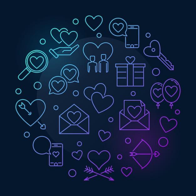 Feliz dia dos namorados vetor redondo colorido contorno ilustração Vetor Premium