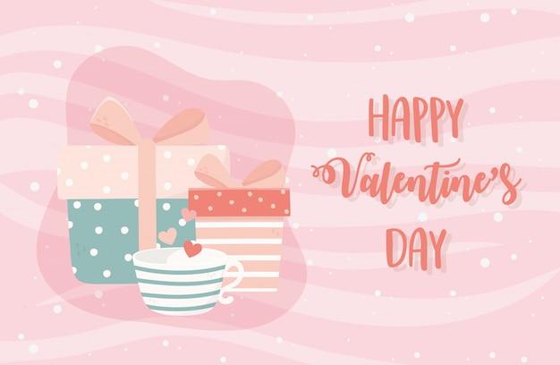 Feliz dia dos namorados xícara de café corações amor caixas de presente Vetor Premium