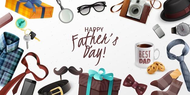Feliz dia dos pais cartão banner horizontal com acessórios masculinos clássicos câmera retro apresenta realista Vetor grátis