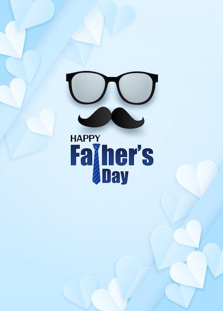 Feliz dia dos pais cartão. design com coração, gravata e óculos Vetor Premium