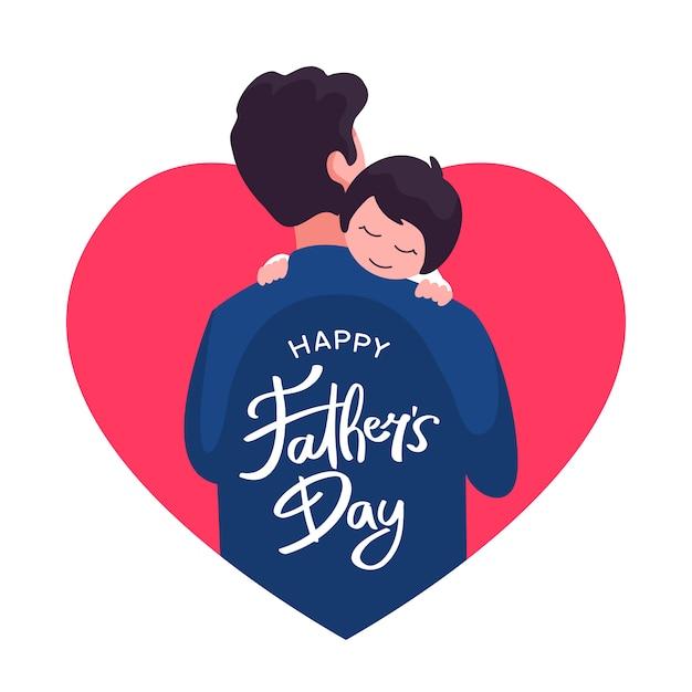 Feliz dia dos pais cartão design. pai, segurando seu filho vector ilustração plana com moldura de coração de amor e mão lettering texto tipografia Vetor Premium