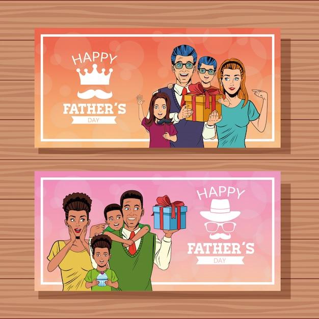 Feliz dia dos pais cartões de banners Vetor Premium