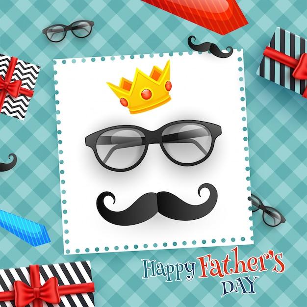 Feliz dia dos pais celebração cartão design com decorat Vetor Premium