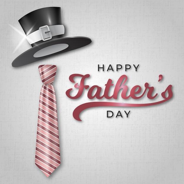 Feliz dia dos pais com chapéu e gravata realista Vetor grátis