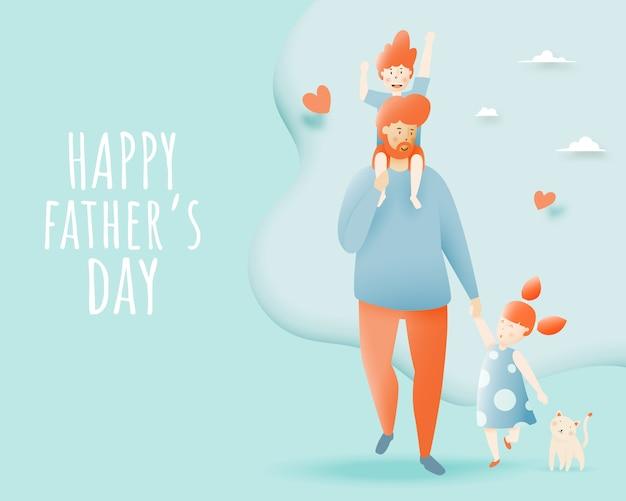 Feliz dia dos pais com pai e filho e filha com esquema pastel e ilustração em vetor arte papel Vetor Premium