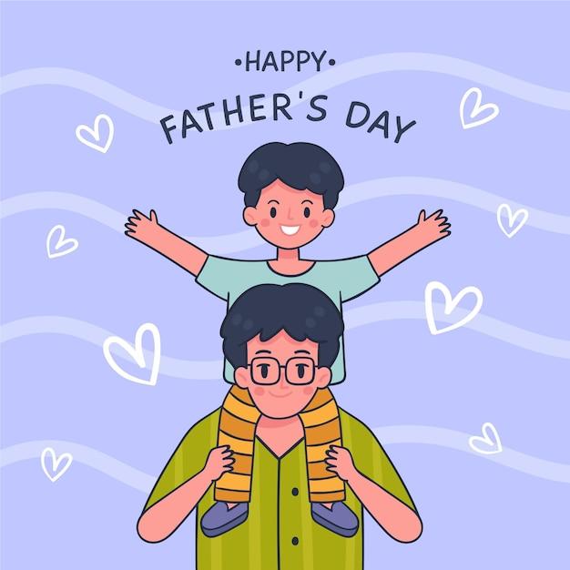 Feliz dia dos pais com pai e filho Vetor grátis