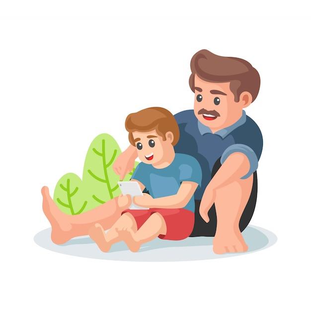 Feliz dia dos pais. conceito de passatempo familiar. pai e filho assistindo vídeo na mão telefones gadget. um menino na frente de sua ilustração vetorial de pai. Vetor Premium