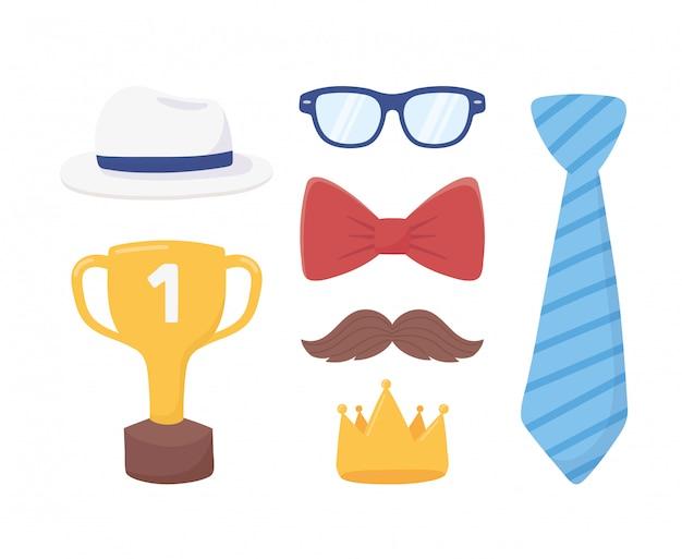 Feliz dia dos pais, gravata ouro coroa bigode óculos gravata borboleta Vetor Premium