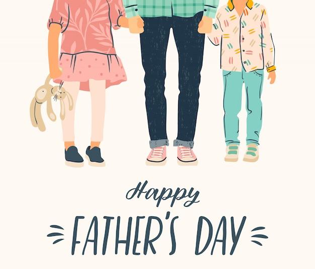Feliz dia dos pais. ilustração. homem segura a mão das crianças. Vetor Premium