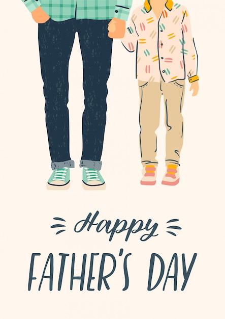 Feliz dia dos pais. ilustração. homem segura a mão de criança. Vetor Premium