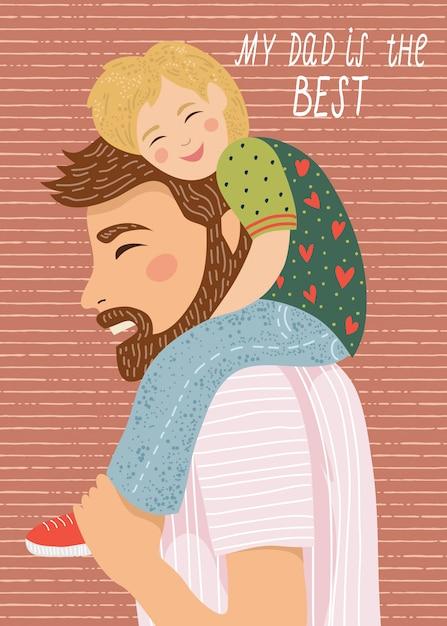 Feliz dia dos pais, meu pai é o melhor. ilustração de família bonita. desenhado à mão do pai e a criança sentada nos ombros Vetor Premium