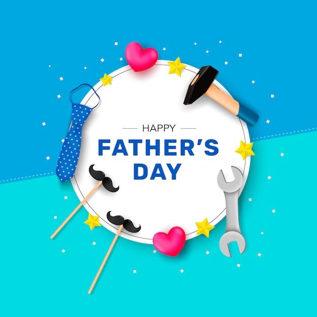 Feliz dia dos pais. parabéns em uma forma redonda branca com um martelo, gravata, chave inglesa e estrelas. Vetor Premium
